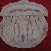 Pearl and White Beaded Evening Bag, Hand Made in Belgium