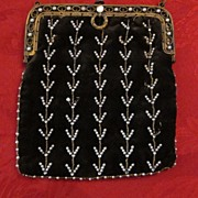 Black Velvet Pearl Decorated Evening Bag, marked Paris France