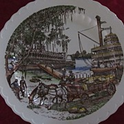 """Vernon Kilns 14"""" Chop Plate Bits of the Old South Down on the Levee"""