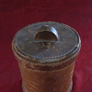 Round Leather and Glass Insert Tobacco Jar