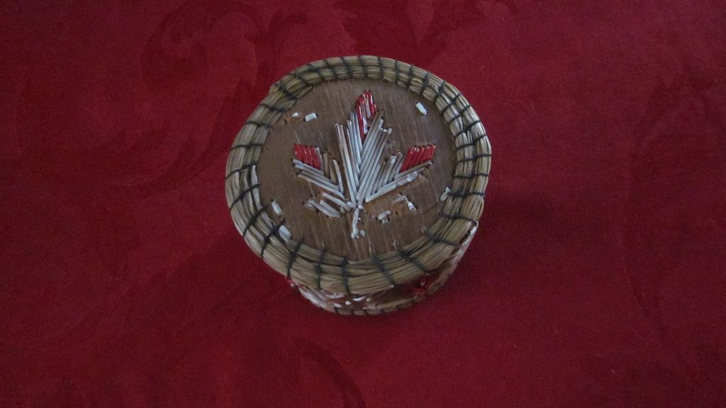 Round Native American Quill Work Box