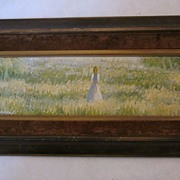 SALE PENDING Impressionist Oil by E. Garin, Woman in White in a Field of Flowers