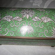 Green,  White and Brass Trimmed Chinese Enamel Trinket Box
