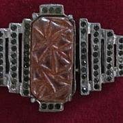 Art Deco Yellow Carved Stone, Dark Rhinestone Belt Buckle