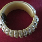 Weiss Unmarked Cream and Rhinestone Segmented Clamper Bracelet