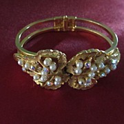 Gold Plated Faux Pearl and Rhinestone Clamper Bracelet