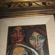 Carlos Lopez Ruiz- Modernist, Oil on Board, Three Women