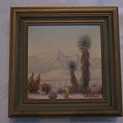 "SALE PENDING Fitch Wray, California Listed Artist, 5"" X 5"" Desert Oil Painting"