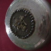 Machine Turned Round Silver Plate Box with Brass Flower Medallion