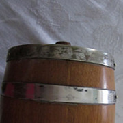 Wooden Barrel Silver Trimmed Ceramic Lined Biscuit Jar
