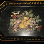 Black Heavy Tole Tray with Flowers, Fruit, and Gold Trim