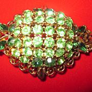 Signed Lisner Green Rhinestone Goldtone Brooch