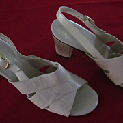 """Miramonte Beige Leather Sling Back Sandals with Chunky 3"""" Heels"""