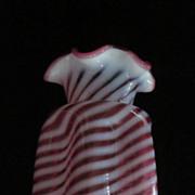 "Fenton 8"" Cranberry Opalescent Swirl Pinch Sides Ruffled Top Vase"