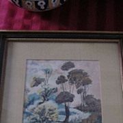 Margo Alexander Gouache, Courting Couple, Matted and Framed