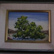 Henry R. Mockel, California Artist, Desert Oil, Cottonwood Tree