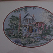 Framed Needlepoint of Victorian Queen Anne Style House
