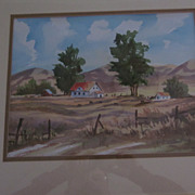Framed, Matted Watercolor, by Maloney, Trees, Farm House, Animals