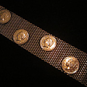 """Copper Mesh ! 1/4"""" Wide Bracelet with Coin Decoration"""