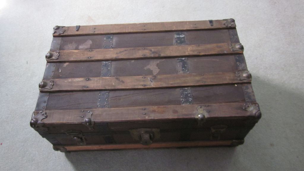 Small Canvas, Wood Slat, Black Metal Steamer Trunk