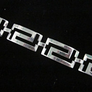 Sterling Pierced Greek Key Motif Link Bracelet