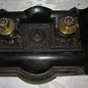 Antique Gutta Percha Double Inkwell Stand