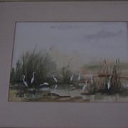 Elizabeth Weleby Watercolor, Egrets In Corkscrew Swamp