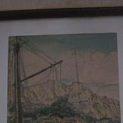 Bela Sziklay Signed Hand Colored Etching, Amalfi Coast