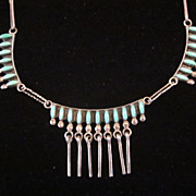 """Zuni Petit Point Silver and Turquoise 18"""" Necklace"""
