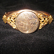 Edwardian Monogrammed Inscribed 10K Yellow GF Bangle Bracelet