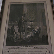 """Hand Colored French Print """"La Soiree D'Hyver"""", Freudeberg"""