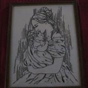 Framed Needlepoint Black on White, Woman Holding Baby