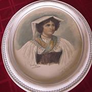 Oval Framed Watercolor Souvenir Portrait of Italian Woman