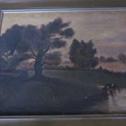 Vintage oil Painting, Lakefront Scene