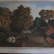 Framed Oil Painting, Autumnal Riparian Landscape, by Brandon