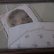 Baby Picture with Lace Pillow, Needlepoint Coverlet