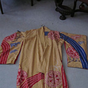 Vintage Silk Kimono, Gold, Red, and Blue