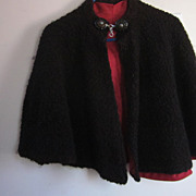 Brown Wool Persian Lamb Capelet with Complex Bakelite Clasp