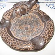 Amazing Hand Made Brown Ceramic Aztec  Quetzalcoatl Ashtray