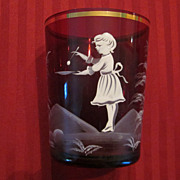 Mary Gregory Ruby Glass Beaker