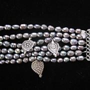 Tania Curin Chunky Sterling Silver 6 Strand Beaded Bracelet