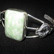 Sterling Silver, Rectangular Green Turquoise Bracelet