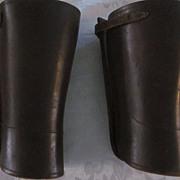 """Vintage Heavy Brown Leather Puttees, 10 1/2"""" long, #15 1/2"""