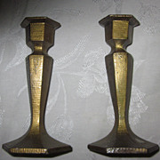 Signed Arts & Crafts Honeycomb Finish Bronze Candle Holders, Pair