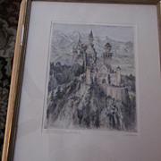 Paul Geissler Hand Tinted, Hand Signed Etching, Hohenschwangau
