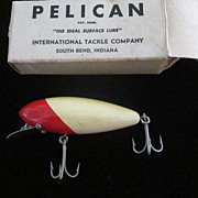 1930's International Tackle Co. Pelican Red, White Lure, Original Box