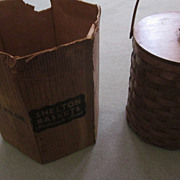 1940's Shelton  Round Refrigerated Splint Basket, Original Box