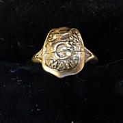 G MAN, Brass Child's Ring, 1930's Cracker Jack Premium