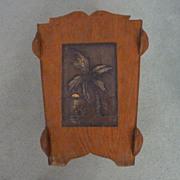 Arts & Crafts Hawaiian Motif Wood, Copper Waste Basket