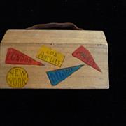 Wooden Souvenir Dime Bank, Suitcase